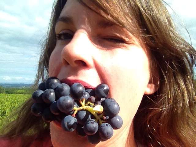 mouthful of grapes